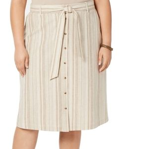 3/$30 Bar III Striped Tie Waist Skirt Beige 16W